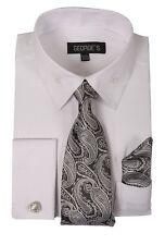 Men's French Cuff Dress Shirt with Matching Tie, Handkerchief and Cufflinks