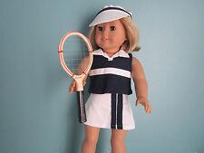 Navy Tennis Skirt, Top, Sun Visor, Tennis Racquet & Ball fits American Girl