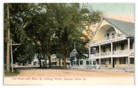 Early 1900s Old Hotel and Main St. looking North, Saxtons River, VT Postcard