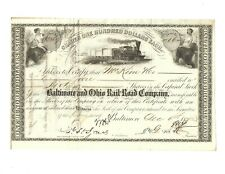 1872 Baltimore & Ohio Railroad Company Stock Certificate