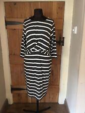 Mint Velvet Stripe Wrap Front Jersey Dress Grey/White Size 14 VVGC