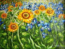Van Gogh Sunflowers and Irises Field Repro III Hand Painted Oil Painting 36x48in