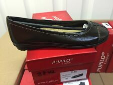Ladies Dark Brown Patent Leather Shoes Size 4