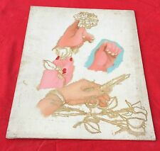 VINTAGE BEAUTIFUL PAINTING OF LADY PICKING FLOWER WITH SCISSORS ON CANVAS BOARD