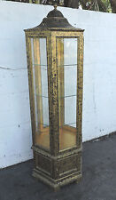 Hollywood Regency Tall Glass Hexagonal Curio Cabinet Painted Black and Gold 8171