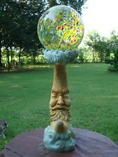 Man In The Moon Gazing Ball Cement Stand Aging Patina Stains - Pensacola Fl