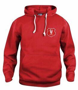 Liverpool 1950s Retro Football Hoodie Embroidered Crest S-XXXL
