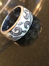 Estate diamond & enamel ring 925 sterling silver, rare, clearance price!
