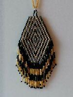 Vintage Unusual Gold Black Art Deco Style Beaded Tassel Pendant Necklace
