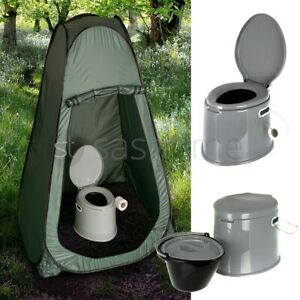 PORTABLE POP UP TENT OUTDOORSHOWER CHANGING PRIVACY ROOM +  5L CAMPING TOILET