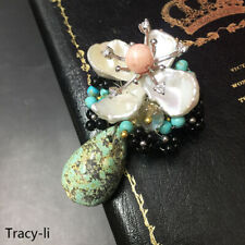 Turquoise Pendant necklace/Brooch pin Fashion Jewelry Natural Crystal Pearl