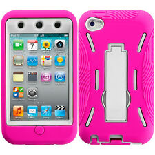 For Apple iPod Touch 4th Generation 4G Hybrid Case Cover Stand Hot Pink White