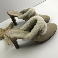 """Enzo Angiolini Suede Shearling Pumps Womens Size 7 Beige Slip On 3.5"""" Heel Shoes"""