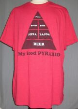My Food Pyramid Pizza Bacon Beer 2XL Red T-Shirt ( 2X XX XXL Large Junk Food )