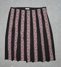 Ann Taylor LOFT Brown Striped floral print pleated 100% Silk skirt Lined Size 10