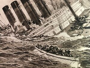 RMS LUSITANIA - CUNARD LINE |  Sinking Print