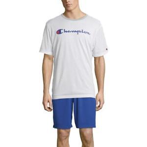Champion Mens White Logo Printed T-Shirt Athletic Big & Tall 2XL BHFO 3150