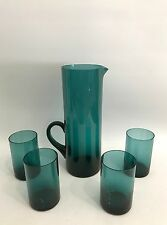 Design Glas Krug/Pitcher + 4 Gläser Saftset Denmark? Finland? 50er 60er 50s 60s