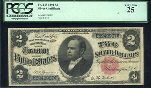 $2 1891 Silver Certificate FR245 Wm. Windom PCGS Very Fine 25 Hard to Find Note
