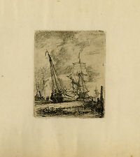 Antique Master Print-LANDSCAPE-MARINE-LOW TIDE-Schaeffels-1862