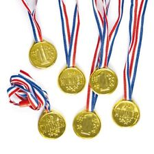 Gold Winning Plastic Medals with Ribbon 35mm, Party Bag Fillers for Boys & Girls