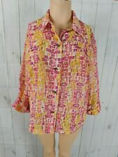 Hearts of Palm Yellow Fuchsia Peach White Burnout Print 3/4 Sleeve Button Shirt