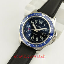 44mm Black Dial Leather Band Automatic Mechanical Date Men's Casual Wrist Watch