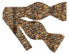 Tiger Print Bow tie / Small Tiger Stripes on Tan / Wild Ties / Self-tie Bow tie