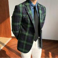 Green Men Plaid Windowpane Blazer Jacket Formal Wedding Party Tuxedos Tailored