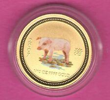 "SCARCE 2007 Australia *PIG* lunar 10th (1/10) oz GOLD ""COLORIZED"" coin-GEM BU*"