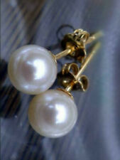 PERFECT Round 7-8MM AAA+ Real WHITE AKOYA PEARL STUD EARRINGS 14K  GOLD