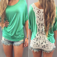 Womens Summer Short Sleeve Hollow Lace Crochet Back Comfort Tops Pullover Blouse