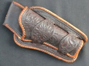 H.H.HEISER #753 ANTIQUE WESTERN HOLSTER .38-.40 CALIBER TOOLED LEATHER LACED