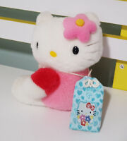 HELLO KITTY PINK TSHIRT PINK FLOWER WITH PASSPORT PLUSH TOY SOFT TOY 16CM TALL