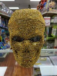 All Gold Rhinestones Fancy Halloween Day of the Dead Skull Masquerade Mask
