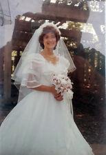 WHITE WEDDING DRESS Organza, 3/4 Length Sleeves, Veil, Train, Size 6
