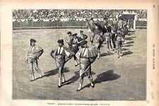 Espagne Combat de Taureaux Toréadors Picadors dans l'Arène GRAVURE PRINT 1878