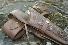 Leather Chocolate Brown Color Holster and Belt Hand Tooled EmbossedLeather 70010