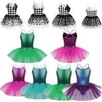 Kids Girls Ballet Dance Tutu Dress Mermaid Glitter Gymnastics Leotard Dancewear