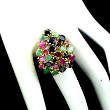 Unheated Oval Green Emerald 6X4mm Ruby Sapphire 925 Sterling Silver Ring 8.5