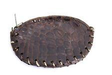 Vintage Alligator Change Coin Purse Brown Zipper Top 1940s Handmade Football