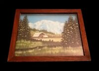 Small Retro Signed Wood Framed Reverse Glass Painting Barn Landscape Vintage