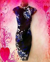 KAREN MILLEN**STUNNING FLORAL SATIN STRETCH  WIGGLE EVENING/PARTY DRESS -UK 12