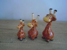 Wooden Giraffes Set Of 3 Sculptures Ornaments Cute