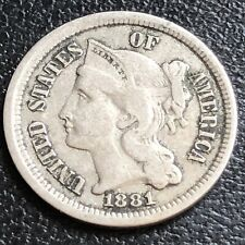 1881 Three Cent Piece Nickel 3c Circulated #27459
