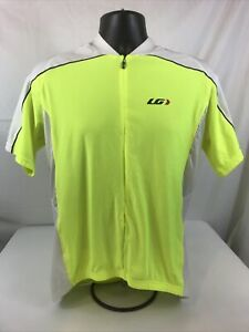 Louis Garneau Cycling Jersey Size 2XL 3/4 Zip 3 Pockets Lime green and White