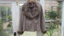 Faux Suede Ladies Soft Jacket with Faux Fur Lining Collar and cuffs Large TU