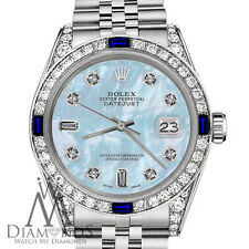 Rolex 26mm Datejust Ladies Watch Baby Blue MOP Dial with Sapphire & Diamond