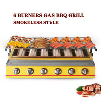 6 Burners LPG Gas BBQ Grill Outdoor Party Picnic BarbeQue Tabletop Charbroiler