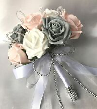BRIDES, POSY, BUTTONHOLES, PINK, GREY, WHITE ROSES, ARTIFICIAL WEDDING FLOWERS